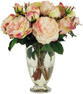 Winward Silks 13 English Rose in Glass Vase, Faux