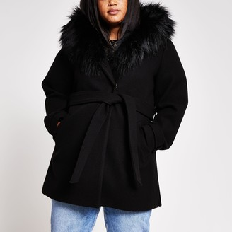 River Island Womens Plus Black belted faux fur hooded robe coat
