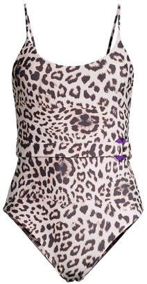 Mikoh Mila Leopard Print Belted One-Piece