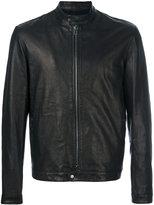 Salvatore Santoro - band collar leather jacket - men - Lamb Skin/Viscose - 50