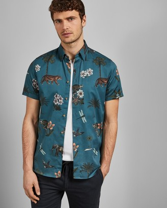 Ted Baker GROUP Short sleeved jungle print cotton shirt