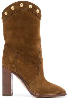 Saint Laurent Kate studded mid-calf boots