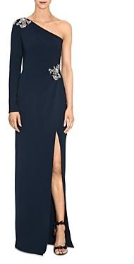 Marchesa Embellished One-Shoulder Gown