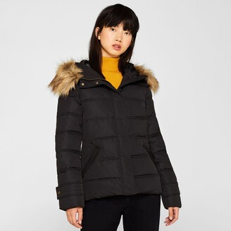 Esprit Short Padded Jacket with Faux Fur Hood and Pockets
