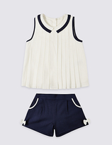 Marks and Spencer 2 Piece Pure Cotton Top & Shorts Outfit (3 Months - 5 Years)