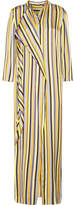 Acne Studios Doree Long Striped Satin Maxi Dress - Yellow