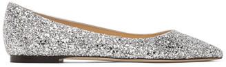 Jimmy Choo Silver Coarse Glitter Romy Flats