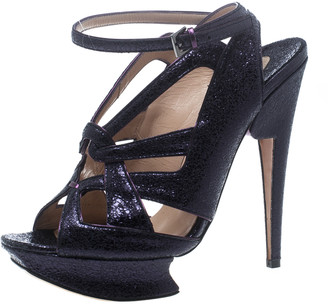 Nicholas Kirkwood Purple Ceramic Leather Ankle Straps Platform Sandals Size 39