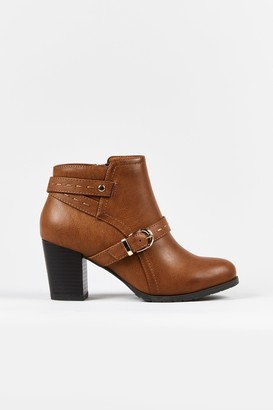 Wallis **WIDE FIT Tan Front Strap Boot