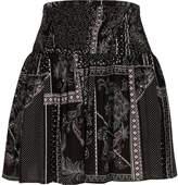 River Island Womens Black scarf print shirred waist mini skirt