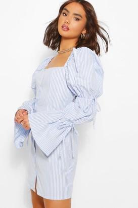 boohoo Stripe Puff Sleeve Shift Dress