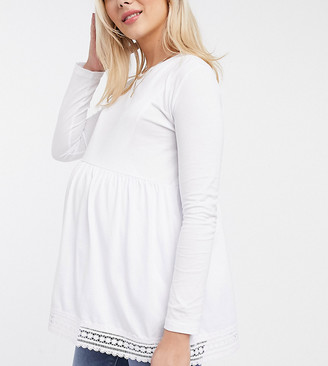 Asos Maternity   Nursing ASOS DESIGN Maternity nursing long sleeve smock top with crochet hem