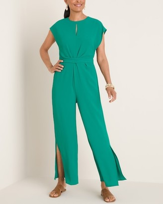 London Times Green Twist-Waist Jumpsuit