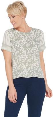 Vince Camuto Short-Sleeve Floral Lace Mix Print Blouse