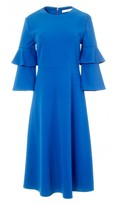Tibi Structured Crepe Bell Sleeve Midi Dress