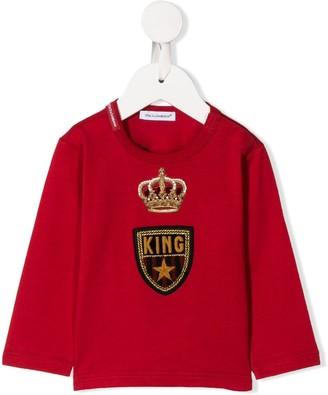 Dolce & Gabbana Kids Logo Crown Embroidered Top