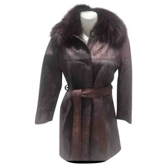 Dolce & Gabbana Burgundy Leather Coat for Women