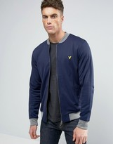 Lyle & Scott Tricot Bomber Eagle Logo Contrast Rib in Navy