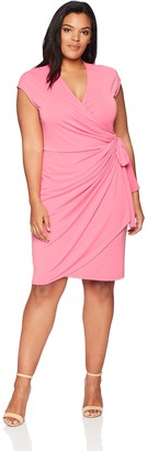Lark & Ro Plus Size Classic Cap Sleeve Wrap Dress Business Casual