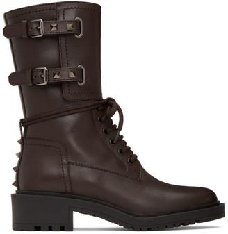 Valentino Brown Garavani Rockstud Double-Buckle Combat Boots