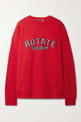 Rotate by Birger Christensen Net Sustain Iris Oversized Appliqued Organic Cotton-jersey Sweatshirt - Red