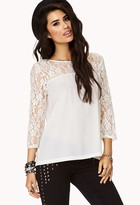 Forever 21 Georgette & Lace Top