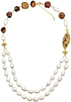 Freshwater Pearls & Tiger Eyes Double Strands Necklace