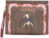 Etro circus print clutch bag