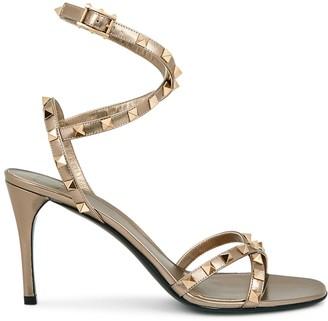 Valentino Garavani Rockstud Flair 90 Bronze Leather Sandals