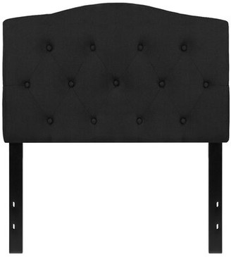 Andover Mills Fuente Upholstered Panel Headboard Size: Twin, Color: Black