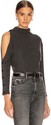 Enza Costa Rib Long Sleeve High Neck Exposed Shoulder Top in Charcoal | FWRD