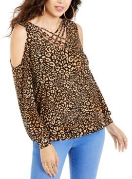 Thalia Sodi Animal-Print Strappy Cold-Shoulder Top, Created For Macy's