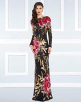 Mac Duggal Black White Red - 4566R Bateau Multi-Color Long Dress