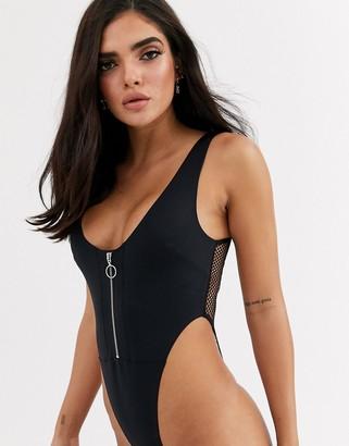 Asos Design DESIGN Addison bonded soft body with zip front & fishnet back-Black