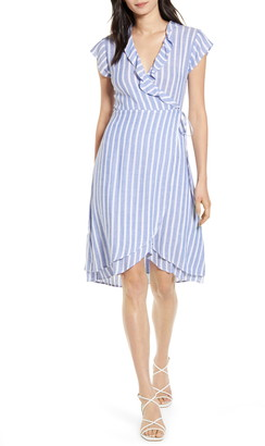 Rails Louisa Stripe Ruffle Detail Wrap Dress