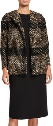 Kiton Long Striped Tweed Jacket