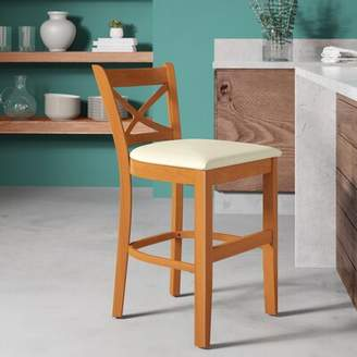 """August Grove Helsley Cross Back Bar & Counter Stool August Grove Seat Height: Counter Stool (24"""" Seat Height), Color: Cherry , Upholstery: Cream"""
