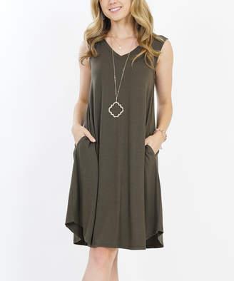 Lydiane Women's Casual Dresses DK.OLIVE - Dark Olive V-Neck Sleeveless Curved-Hem Pocket Shift Dress - Women