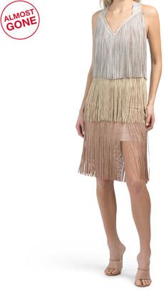 Cross Back V-neck Tiered Fringe Dress