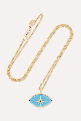 Marlo Laz Micro Eyecon 14-karat Gold, Turquoise And Tourmaline Necklace
