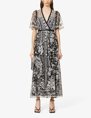 Needle And Thread Trudy Belle floral-embroidered mesh maxi dress