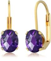 Gem Stone King 2.00 Ct Checkerboard Shape Amethyst Yellow Gold Plated Brass Dangle Earrings