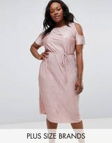 Club L Plus Midi Dress With Cold Shoulder In Pleated Metallic
