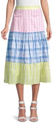 Rococo Sand Plaid Cotton Skirt