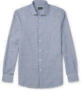 Ermenegildo Zegna Cutaway-Collar Gingham Slub Linen And Cotton-Blend Shirt