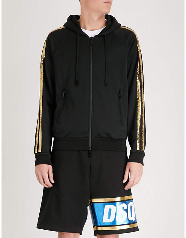 DSQUARED2 Sequin-striped jersey hoody