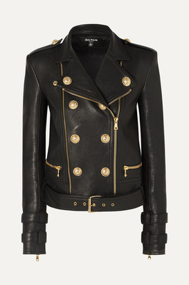Balmain Button-embellished Leather Biker Jacket - Black
