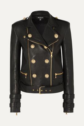 Balmain Button-embellished Leather Biker Jacket - Black