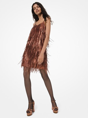 Michael Kors Metallic Plonge Leather Fringed Mini Dress
