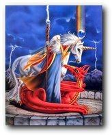 Storm Chaser Unicorn Wizard Fantasy Kids Room Wall Decor Art Print Poster (16x20)